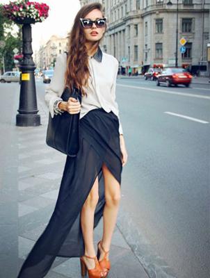 街拍超模潮人黑色透视装