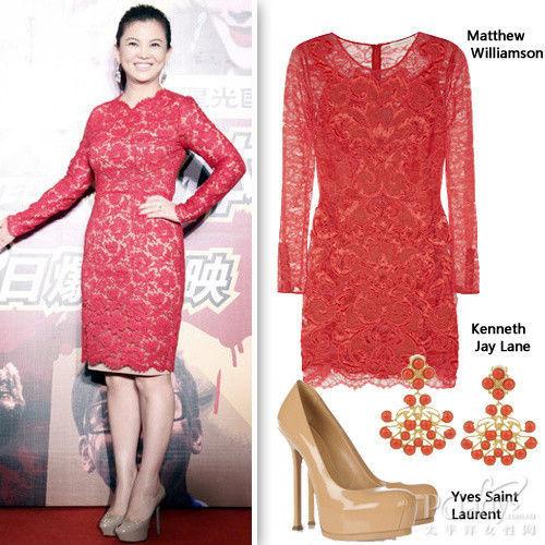 李湘身穿红色长袖蕾丝铅笔裙
