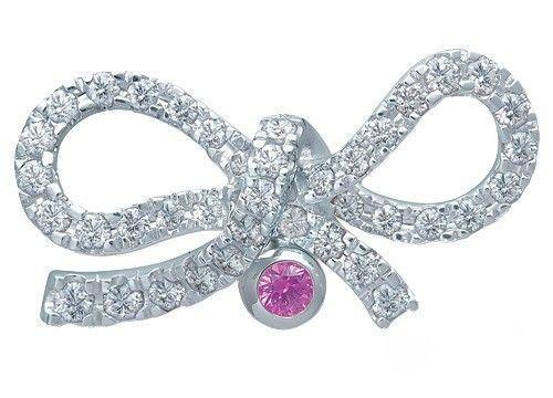 Mikimoto钻石粉红宝石胸针
