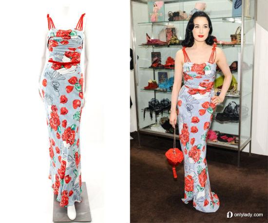 Dita Von Teese 印花拖地连衣裙 $ 995.00