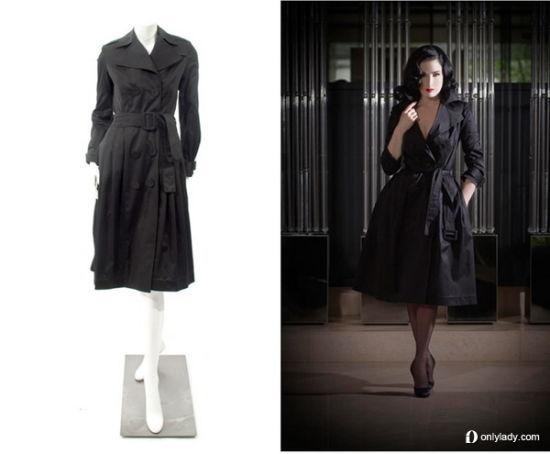 Dita Von Teese 黑色长款风衣 $ 895.00
