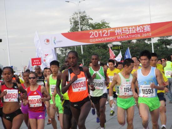 首届广州马拉松现场 选手开跑-广州马拉松开跑 埃塞俄比亚选手夺男子