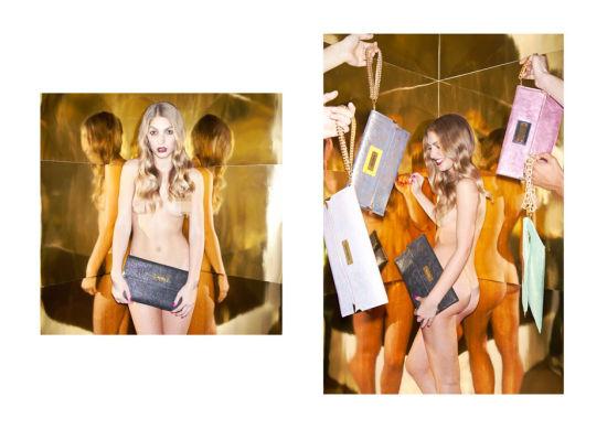 美女裸模上演奢侈手袋诱惑