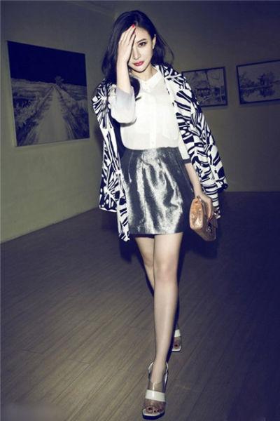 angelababy银色半身裙
