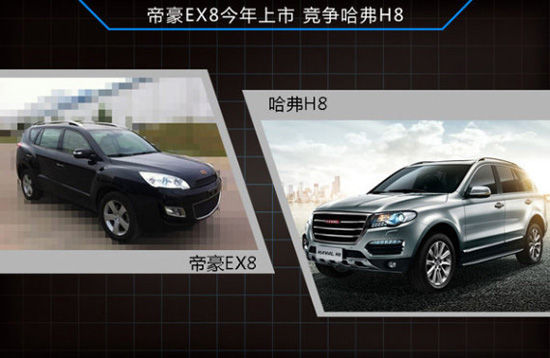 帝豪七座SUV实车曝光 将竞争长城哈弗H8高清图片