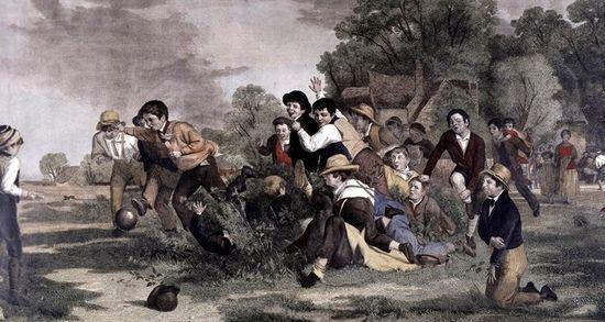 英国画家托马斯韦伯斯特的作品《足球比赛》