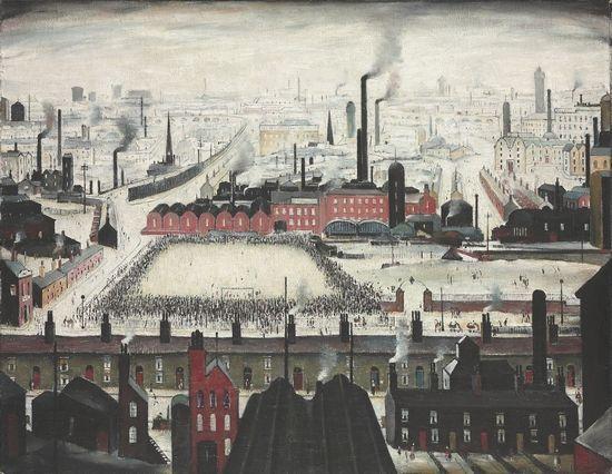 英国画家LS劳瑞的作品《足球比赛》