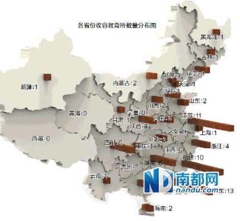 各省收容教育所数量分布图