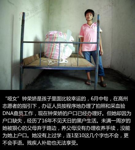 """高州曹江哑妹钟荣娇  16年""""黑户"""""""