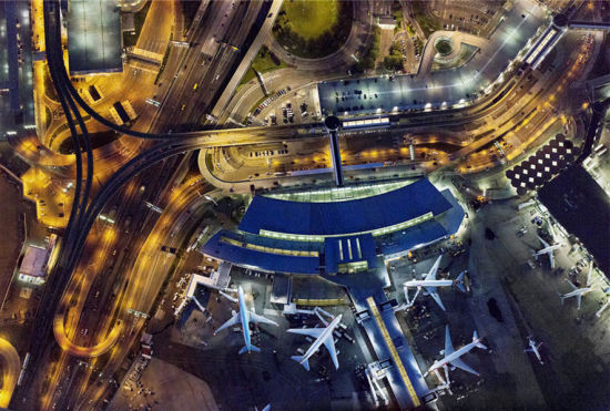 高空俯拍美国机场欣赏另一个美丽的世界