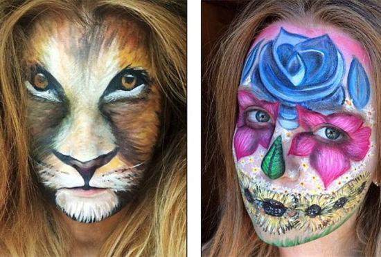 英国化妆师用廉价工具打造奇异变脸妆