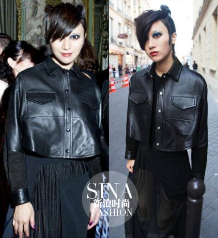 尚雯婕黑色皮衣搭配黑色纱裙装扮图片