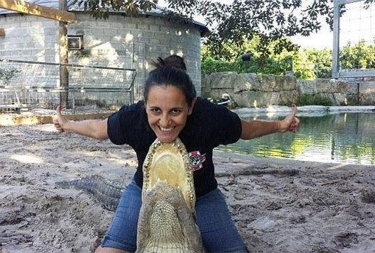 """美国怀孕7个月准妈妈与鳄鱼玩""""搏斗"""""""
