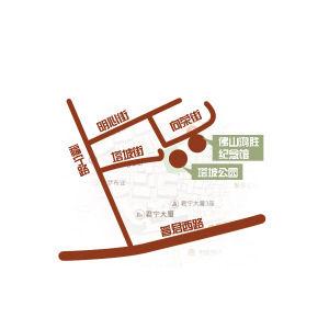 制图/王淼冰    ▲佛山鸿胜馆地址简图。