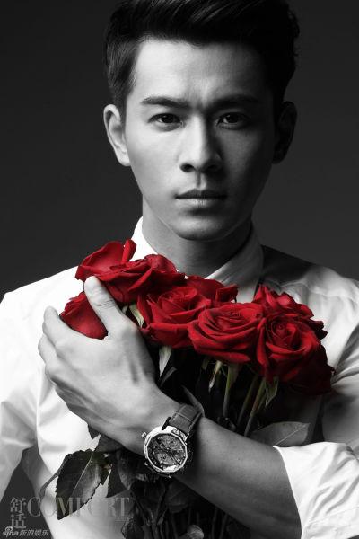 乔振宇杂志大片手捧红玫瑰男人味十足