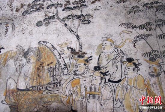 唐朝高官韩休墓发掘出唐最早独屏山水壁画