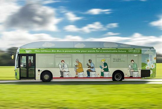 英首辆以人类粪便为燃料的生态公交车上路