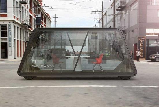 轮子上的智能办公室车身透明可自动驾驶