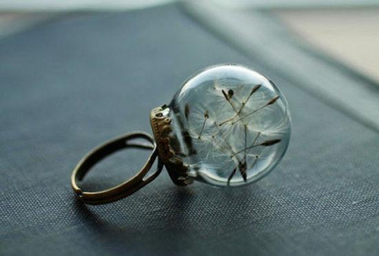戴上天赐的自然之美玻璃球中的鲜花戒指