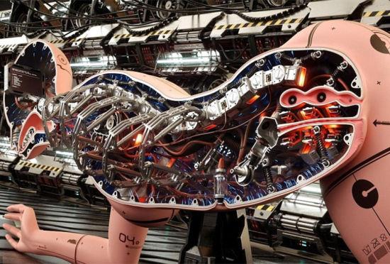 法艺术家绘制未来派女机器人剖面图