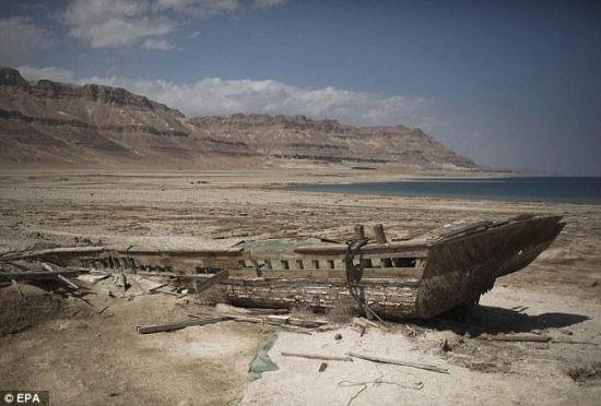 以色列死海即将消亡水位下降地皮裸露