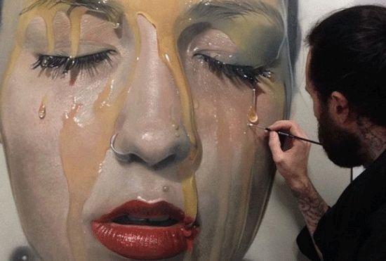 艺术家创作人像油画立体感十足犹如真人