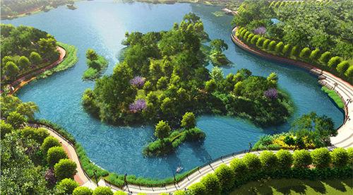 景观面积24万平方米,沿河两岸新建城市综合绿岛10