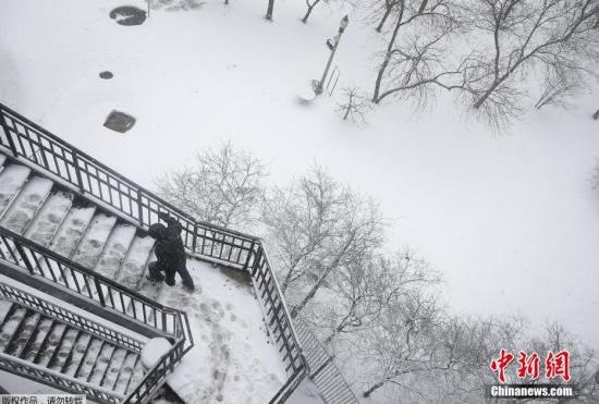美国芝加哥遭春雪袭击城市银装素裹