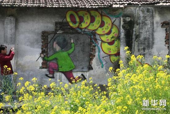 法国艺术家街景涂鸦重现上海农村(组图)