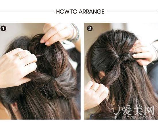 扎发步骤:   step1:取出上部分头发绑成马尾后