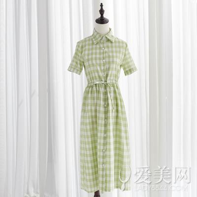 小清新复古文艺格子连衣裙