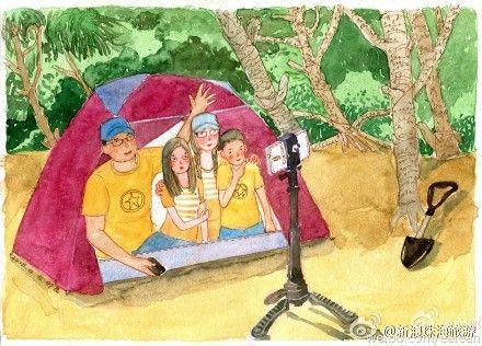 微博网友小清新手绘纪录珠海海滩亲子露营