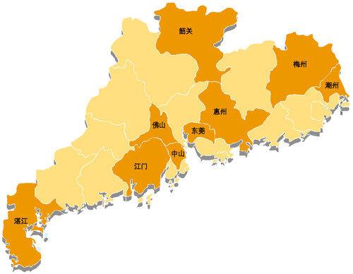 广东各市分布地图