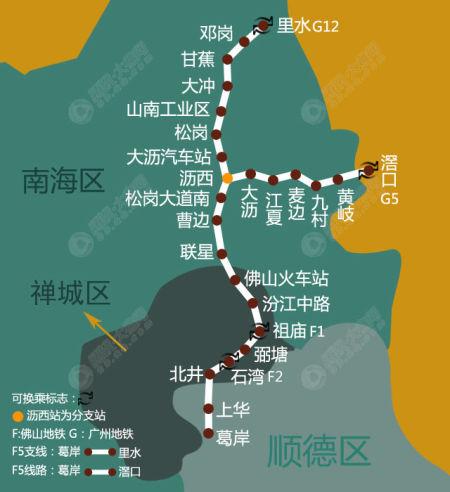 佛山地铁6号线:改对接滘口-最新佛山地铁8条线规划图出炉 方便市民图片