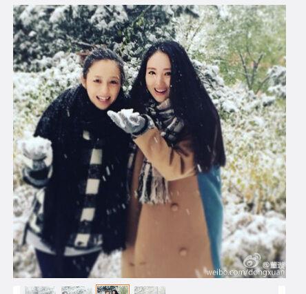 佟丽娅素颜与董璇玩雪