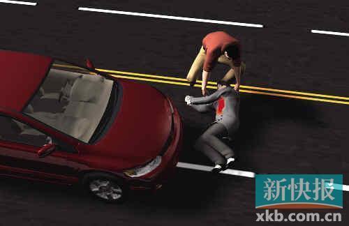 过路司机曹先生将伤者抬上车送院抢救。杨志成/制图