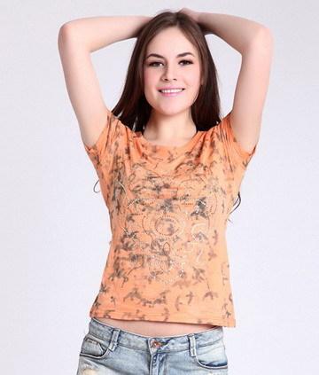 SILENCE FEEL芒果色印花烫钻女式T恤