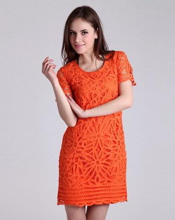 SILENCE FEEL橙色女式盘花连衣裙