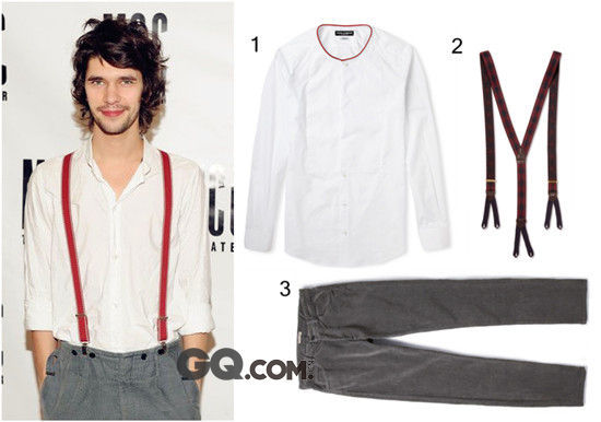 正因为是十分基础的款式,让白衬衫变得可塑性极强。虽然与西装搭配是标准正装款,但如果换成其他不同的服饰,又会呈现完全不同的风格。   白衬衫的复古文艺腔   英国男星Ben Whishaw,消瘦的身型,忧郁的眼神,浑然天成的文艺味道,让他脱颖而出。喜欢复古文艺范的男性,不妨参考Ben Whishaw选择一件面料舒适,略带设计感的白衬衫。背带是打造男性文艺腔调的必备饰品,而选择灯芯绒材质的长裤,更增添了朴素质感。