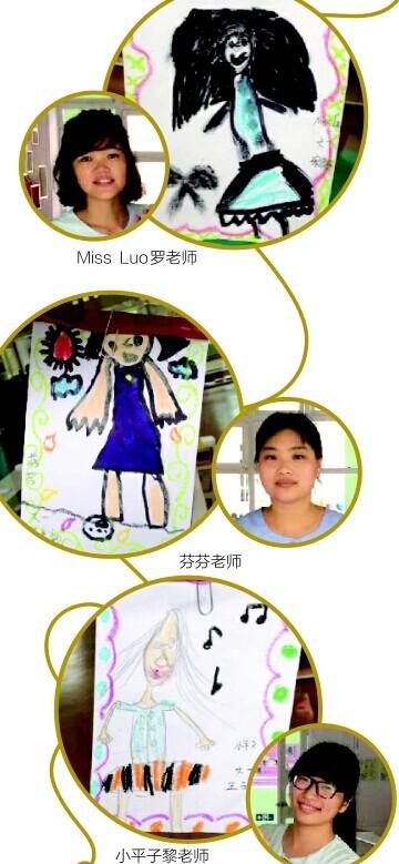 幼儿园孩子给老师的肖像画